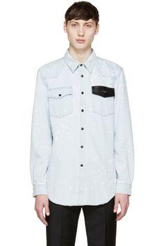 Givenchy - Blue Distressed Denim Logo Shirt