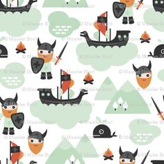 Colorful fabrics digitally printed by Spoonflower - Cute kids historical hero theme viking battle ship whale and scandinavian woodland in mint and orange boys Viking Baby, Viking Battle, Kids Patterns, Pattern Images, Battleship, Custom Fabric, Cute Kids, Spoonflower, Whale