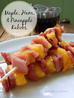 Num's the Word: Do you love ham? These Maple, Ham & Pineapple Kabobs are easy and delicious! A perfect way to use up leftover ham! Grill them or use the skillet, skewer them or don't. Either way it's a kid friendly, easy and delicious meal!
