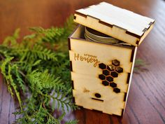 Wood Box KIT for Honey Package Jar with Logo, Bee Hive Honeycombs Wooden Organic Beehive Natural, Business Custom Gift Personalized Engraved