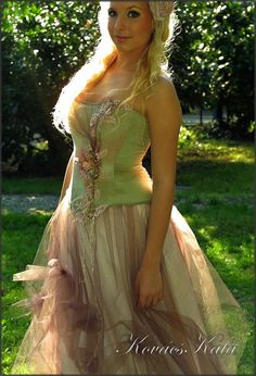 Magical Woodland Fairy Silk Fantasy Corset Wedding by KataKovacs