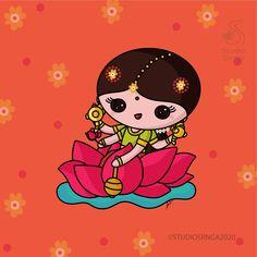 Sweet Drawings, Art Drawings Beautiful, Art Drawings For Kids, Cartoon Drawings, Durga Ji, Durga Goddess, Navratri Images, Ganesha Painting, Indian Folk Art