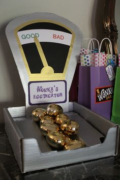 "Willy Wonka and the Chocolate Factory party ""Eggdicator"""