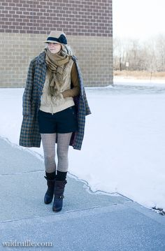 Thrifted antique wool coat, wool shorts with tights and lots of layers to keep me warm in below zero weather