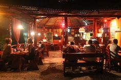 burger rancho with clients at night time  - Costa Rica