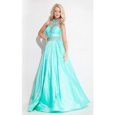 Rachel Allan 7195 Prom Ball Gown Long Halter Sleeveless ($498) ❤ liked on Polyvore featuring dresses, gowns, formal dresses, mint, long blue skirt, long a line skirt, long maxi skirts, long formal dresses and long formal gowns