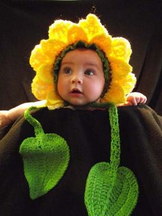 This sunflower hat is hand-made form wool and acrylic yarn and fits 3 to 12 months baby.    This Sunflower Hat is exclusively patented by RimaDesign.