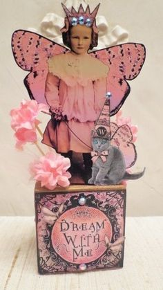Altered Art Mixed Media Fairy Block Assemblage Cat Dream with Me | eBay