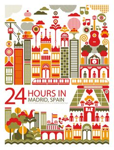 24 Hours in Madrid, Spain: Illustration by Fernando Volken Togni Travel Illustration, Graphic Design Illustration, Chic Type, Thinking Day, Design Thinking, World Cities, Travel Posters, Vintage Posters, Design Inspiration