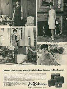 1966 Ad, Lady Baltimore Fashion Luggage, Elegant Ladies in '60s Fashions