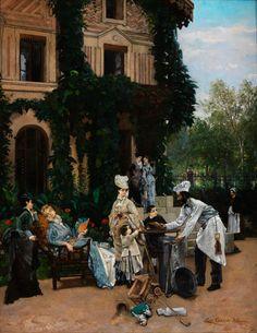 """GROSSBÜRGERLICHE GESELLSCHAFT Öl auf Leinwand. 73 x 92 cm. Rechts unten signiert und datiert """"1874"""". Maler des französischen Naturalismus, Sohn und..."""