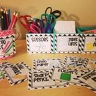 Black and White Chevron School Supply Labels with Pictures - Elementary Endeavors