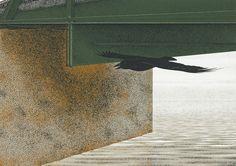 alex colville - bridge and raven Canadian Painters, Canadian Artists, American Artists, Alex Colville, Alex Grey, 24. August, Magic Realism, Bachelor Of Fine Arts, Visionary Art