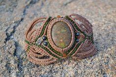 Macrame Bracelet with Onyx, Hematite and Fire Agate Stones by Coco Paniora Salinas of Rumi Sumaq