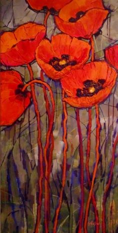 """""""ORIENTAL RED,"""" 10129, daily painter textured poppy © Carol Nelson Fine Art, painting by artist Carol Nelson"""