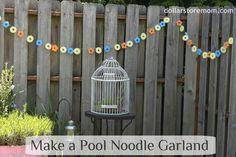 Turn pool noodles into waterproof garlands.