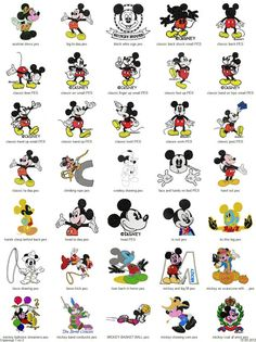 Mickey & Minnie Mouse - 101 embroidery designs - Free Machine Embroidery Designs Download                                                                                                                                                     More
