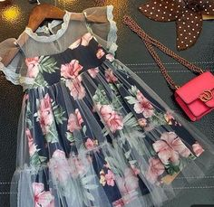 Buy Floral Prints Fly Sleeve Dress online with cheap prices and discover fashion… - Wedding Dresses Dresses Kids Girl, Little Girl Dresses, Cute Dresses, Children Dress, Cheap Dresses, Step Children, Vintage Baby Dresses, Dress Girl, Dresses Dresses