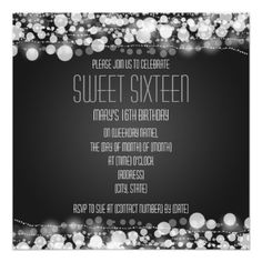 Sweet Sixteen Party Dotted Decoration Black Announcements   $1.70