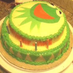 Kermit the frog birthday cake I made
