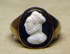 Elizabeth I of England, (1533-1603)  Date: ca. 1570–1600 Culture: Italian, probably Medium: Onyx and gold Dimensions: Overall: 5/8 x 1/2in. (1.6 x 1.3cm); visible cameo: 16 x 13 mm Classification: Lapidary Work-Gems Credit Line: The Milton Weil Collection, 1938 Accession Number: 38.150.32  This artwork is not on display