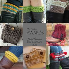 The Crochet Awards Judges' Nominees for Best Boot Cuffs 2015 | Willow Boot Cuffs by Divine Debris |  Knit-Look Braid Stitch Boot Toppers by Bonita Patterns |  Boot Cuff Lacey Style by Kathy Davis |  Diagonal Weave Boot Cuffs by Crochet by Jennifer |  Adderley Boot Cuffs by Janet Brani |  Boot Cuff Braided Cable crochet by Sol Maldonado |  Cable Boot Cuffs Crochet Pattern by April Bennett with Cuddle Me Beanies |  Dylan Leg Toppers by Sincerely Pam