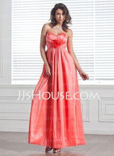 Bridesmaid Dresses - $104.99 - Empire Sweetheart Floor-Length Taffeta Bridesmaid Dress With Ruffle Flower(s) (007004229) http://jjshouse.com/Empire-Sweetheart-Floor-Length-Taffeta-Bridesmaid-Dress-With-Ruffle-Flower-S-007004229-g4229