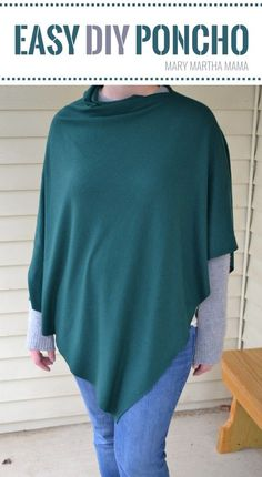 How to make an easy DIY poncho- step by step tutorial for how to make a poncho from knit fabric