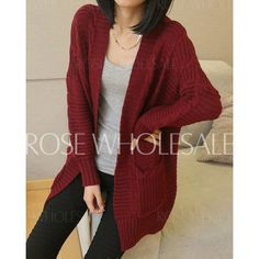 Loose Cable-Knit Long Sleeve Collarless Solid Color Cardigan For Women $13