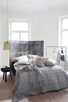comfortabel - grijs - slaapkamer styling - kamerscherm - folding screen - grey