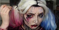 Pop Art Grunge Harley Quinn Makeup Tutorial | DIY Costume Makeup, check it out at http://makeuptutorials.com/pop-art-harley-quinn-makeup-tutorial/