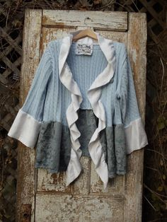 Silver Blue Sweater TopPale Blue Cable Knit by NineMusesofCrete, $70.00
