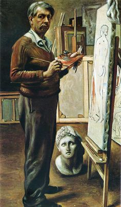 Giorgio de Chirico (1888-1978)  Self Portrait in the Studio, 1935   Giorgio de Chirico was a Greek-born Italian artist. In the era before World War I he established the art movement, scuola metafisica, which would inspire surrealists. After 1919, Chirico had a change in the direction of his art. He acquired interest in traditional techniques of the neoclassical or neo-Baroque style.