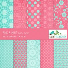 Pink and Mint Papers - Set of 11 papers.  Great for scrapbooking, web design, card making and more.