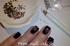 Crystal spiders nail art ~ More Nail Polish