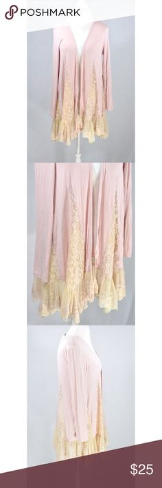 """Light Pink BoHo Kimono With Lace Detail New straight from manufacturer. Never worn tried on etc. pictures don't do it justice! So adorable. 34"""" L at longest part and 18"""" pit to pit Modcloth Tops"""