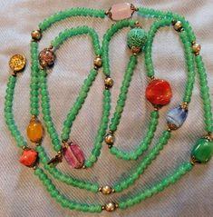 "Art Deco 60.5"" Jade Peking Glass Gemstone Galalith Gold Confetti Unique Necklace #Unbranded #StrandString"