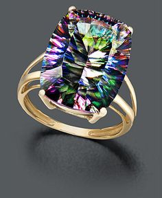 14k Gold Ring, Large Mystic Topaz