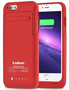 Amazon.com: iPhone 6 Battery Charging Case External Battery Backup Charger Case 3500mAh with Kickstand for iPhone 6/6S by Kujian (Black): Cell Phones & Accessories