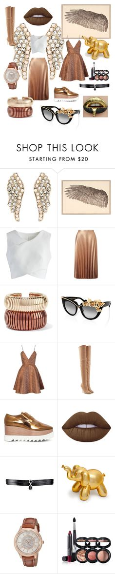 """bronze"" by beanpod ❤ liked on Polyvore featuring Natural Curiosities, Chicwish, Miss Selfridge, Rosantica, Anna-Karin Karlsson, Joana Almagro, Balmain, STELLA McCARTNEY, Lime Crime and Fallon"
