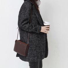 spejlvendt I want everything in this picture: the gorgeous coat, the coffee, the pants, and most of all, the Celine triple flap.