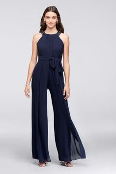 72e3c07c51c5 Introduce a new element to bridal party outfitting with this flowing  chiffon jumpsuit. At first