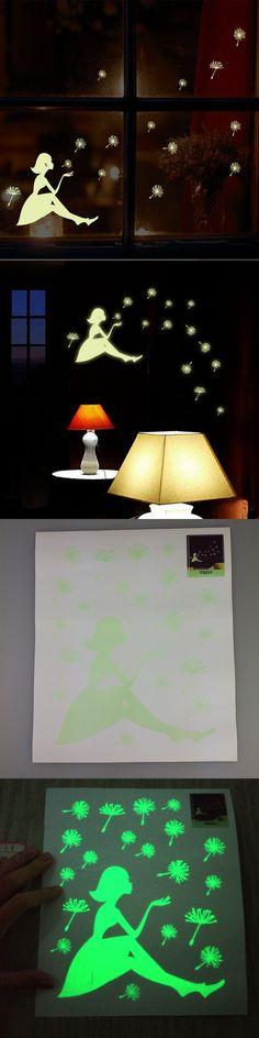 Glow Wall Stickers Decal Baby Kids Bedroom Color Dandelion Luminous Fluorescent Sticker Room Decoration