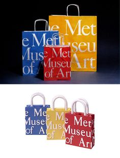 Metropolitan Museum of Art Bag History  Rudy de Harak   As fresh as when it first appeared in 1978, the eye-catching shopping bag from The Metropolitan Museum of Art has become an American icon. Over one million bags are printed every year, designed by Rudolph (Rudy) de Harak (American, 1942-2002), the bag was printed in three bold colors- blue, yellow and red- to represent the basic pigments for color printing: cyan, yellow and magenta.  #rudydeharak #graphicdesign #colordesign #packaging New York School, Art Bag, One In A Million, Metropolitan Museum, Bold Colors, Blue Yellow, Paper Shopping Bag, Magenta, Printing