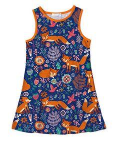 Sunshine Swing Navy Fox Tank Dress - Toddler & Girls | zulily