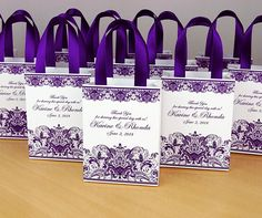 Purple Wedding Gift bags for small souvenirs Personalized Bag with satin ribbon handles, print lace and your names, Wedding favor for guests – Wedding Gifts Wedding Gift Bags, Party Gift Bags, Wedding Favors For Guests, Gifts For Wedding Party, Fall Wedding, Diy Wedding, Wedding Souvenir, Nautical Wedding, Wedding Table