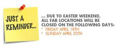EASTER WEEKEND HOURS: Our stores will be closed on Friday April 18 and Sunday April 20. We're still open our regular hours on Saturday! #FabBabyGear #EasterWeekend
