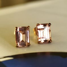 14K Gold Pink Tourmaline Emerald Cut Stud Appraised 14K Rose | Etsy Tourmaline Earrings, Pink Tourmaline, Women's Earrings, Antique Jewelry, Vintage Jewelry, 96 Hours, Boxes And Bows, Jewelry Cleaning Cloth, Rose Gold Pink