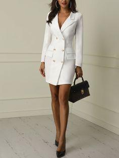 Blazer Dress for Women . Luxury Blazer Dress for Women . Stone Belted Blazer Dress Autumn Wardrobe In 2019 Designer Work Dresses, Dresses For Work, White Dresses For Women, Business Dresses, Business Attire, Business Suits For Women, Business Casual, White Business Dress, Business Fashion