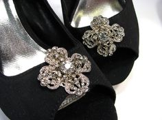 Shoe Clips White Rhinestones Fancy Silver Filigree Quatrefoil Flower Shape Jewelry Prom Shoes  My new line of sparkly shoe clips is gorgeous!